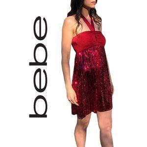 bebe- Red, Sequin Halter Dress